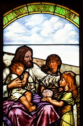 Jesus & the Children Stained Glass Window